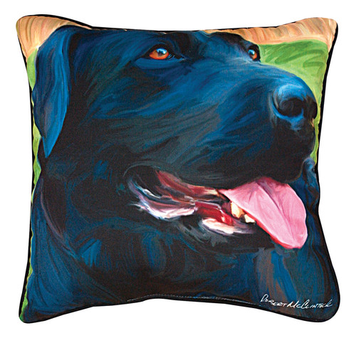Paws & Whiskers 18in Pillow - Handsome Lab Black Lab (SLHLB)