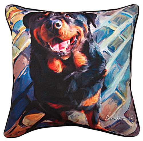 Paws & Whiskers 18in Pillow - Handsome Rottie (SLHRRW)