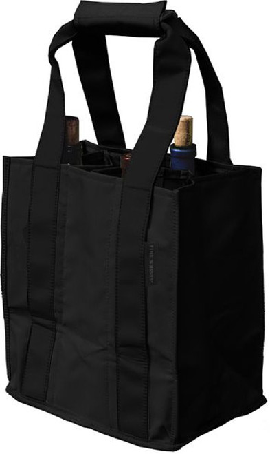 Black Fine Whines Canvas Party to Go Tote Bottle Bag
