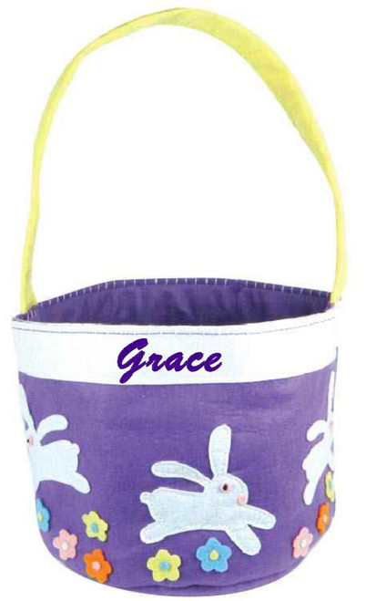 Purple Three Bunnies Leaping Easter Basket (3BUN-86) from Groovy Holilday