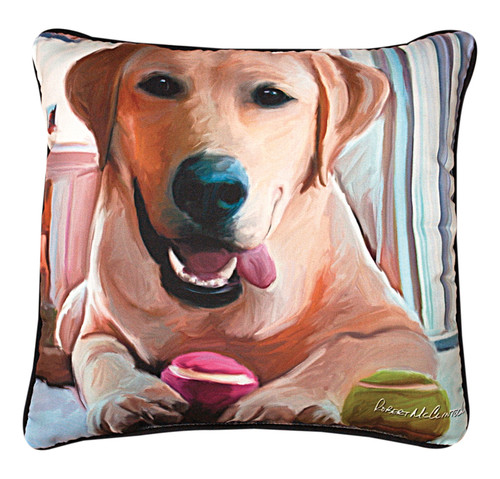 Paws & Whiskers 18in Pillow - Tennis Anyone Yellow Lab (SLTAYL)