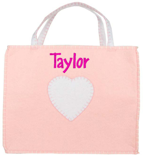 Monogrammed Personalized Felt Baby Bag - Pink (EMILY)