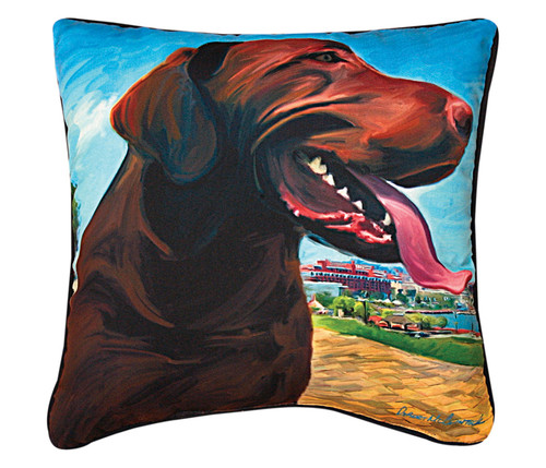 Paws & Whiskers 18in Pillow - View From Hill Chocolate Lab (SLVHCL)