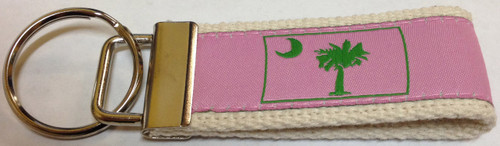 Web Keychain - Green Palmetto Moon on Pink (WK-LPPG)