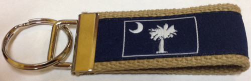 Moonshine Web Keychain - White Palmetto Moon on Navy (WK-PNW)