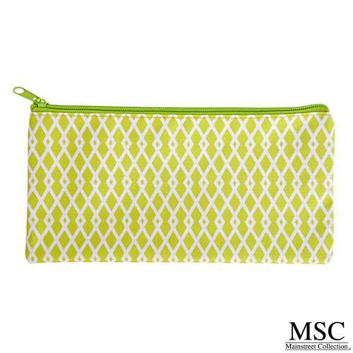 Mainstreet Collections (MSC) Perfect Pouch - Green & White Criss Cross Pattern (PPCC/8341)