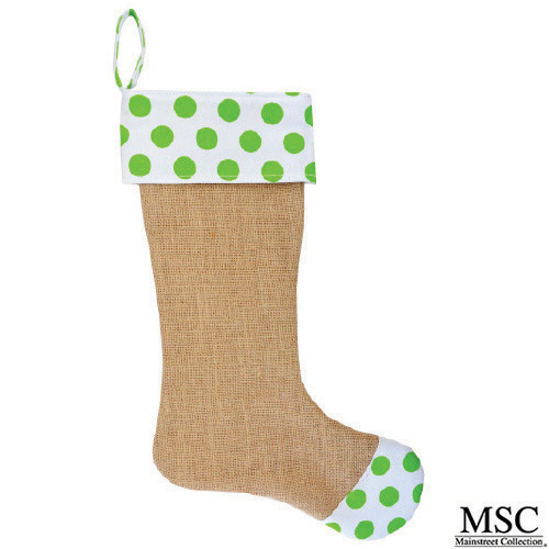 Dot Burlap Stocking - Lime (STDL/6932)