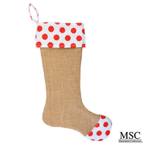 Dot Burlap Stocking - Red (STDR/6931)