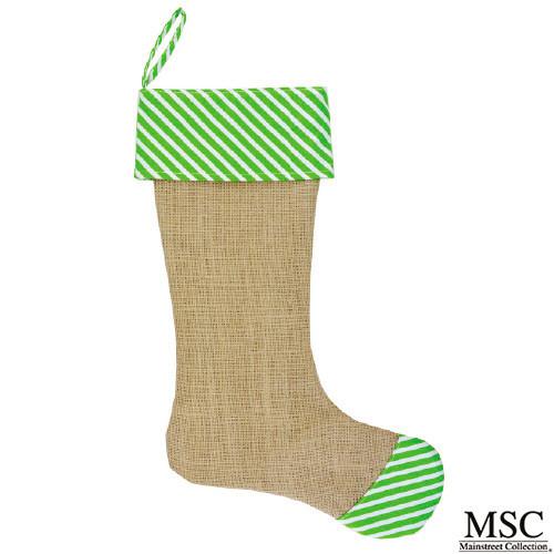 Stripe Burlap Christmas Stocking - Lime (STSL/6930)