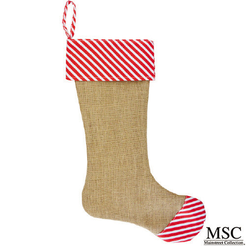 Stripe Burlap Christmas Stocking - Red (STSR/6929)