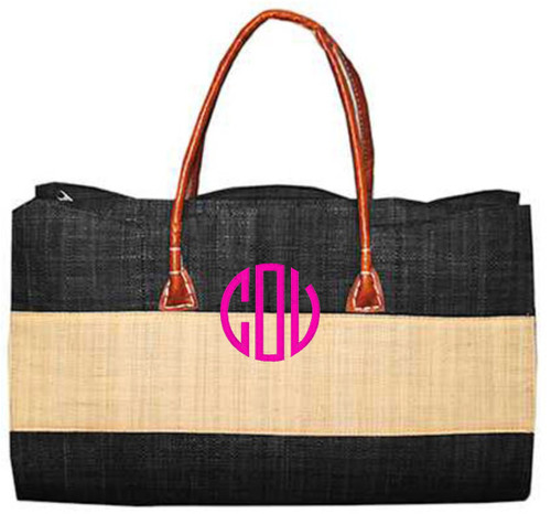 Main Street Collections MSC Stripe Straw Tote - Black (SSTK/8585)