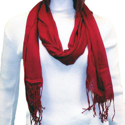Thin Viscose Blend Solid Burgundy Scarf