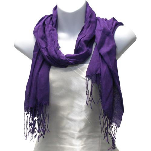 Thin Viscose Blend Solid Purple Scarf
