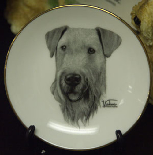 Mini Best In Show 4in Porcelain Plate - Airedale Terrier (016 )