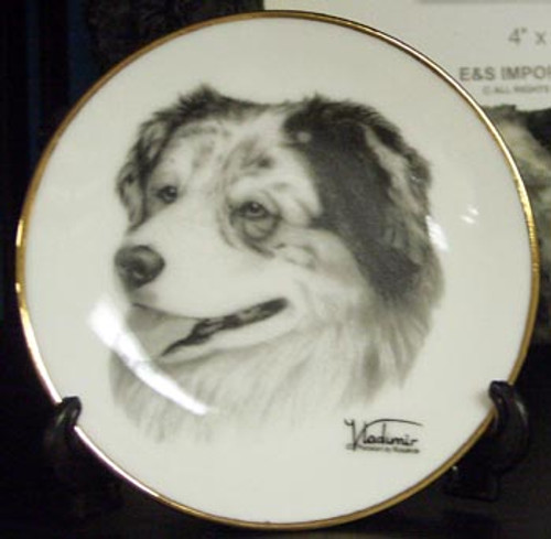 Mini Best In Show 4in Porcelain Plate - Australian Shepherd