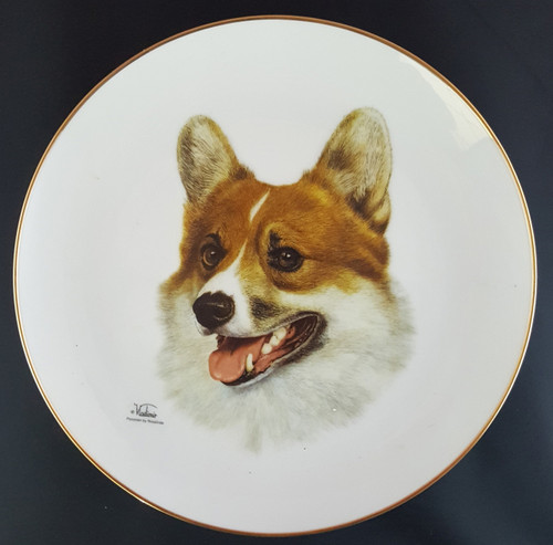 Best Of Breed 8.25in Gold Band Porcelain Plate - Pembroke Welsh Corgi