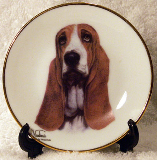 Classic Collection 4in Color Mini Porcelain Plate-Basset Hound