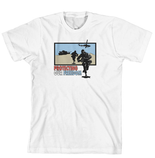 T-Shirt - Protecting Our Freedom-Soldiers, Tanks, helicopters in desert (170-0045-000)