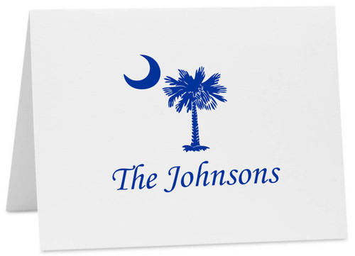 Palmetto Moon South Carolina Logo Personalized Note Cards with Envelopes (Available in Multiple Colors) (CC-10375 PER) Apple Chancery Font