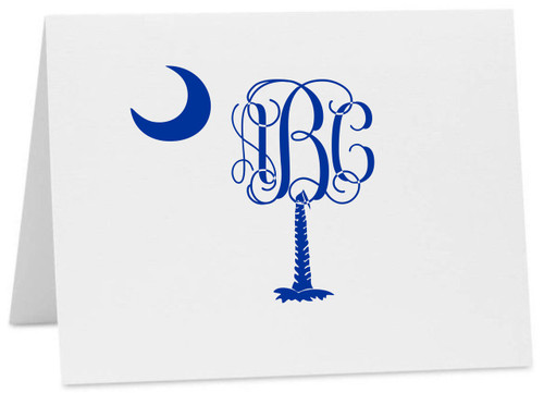 Palmetto Moon Monogram South Carolina Logo Note Cards with Envelopes (Available in Multiple Colors) (CC-10413)