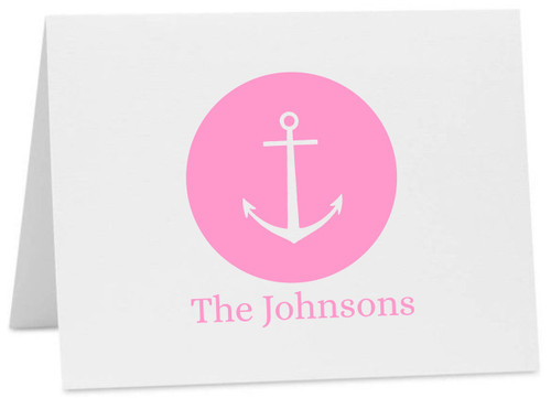 Anchor Dot Personalized Note Cards with Alice Font (Available in Multiple Colors) (CC-10452)