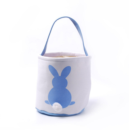Collapsible Easter Basket - Bunny with Cotton Tail - Aqua Blue (DOM-DOM784-Aqua)