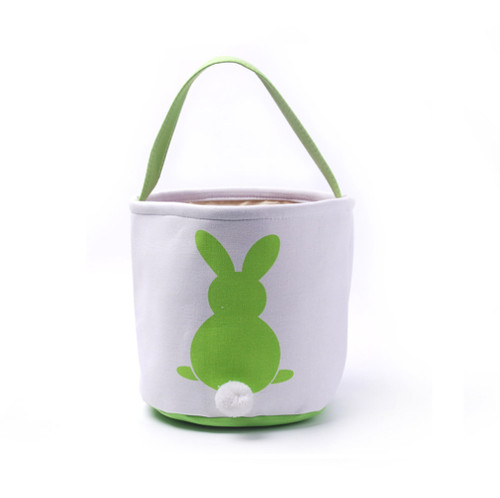 Collapsible Easter Basket - Bunny with Cotton Tail - Kiwi Green (DOM-DOM784-Green)