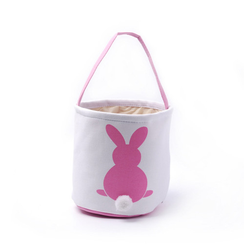 Collapsible Easter Basket - Bunny with Cotton Tail - Pink (DOM-DOM784-Pink)
