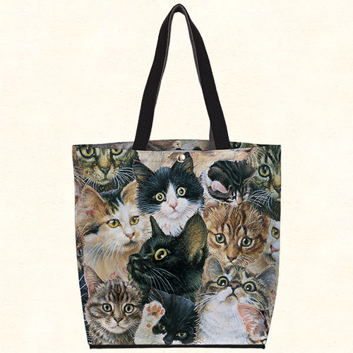 Fiddlers Elbow Kitten Faces Oil Cloth Tote (T320)
