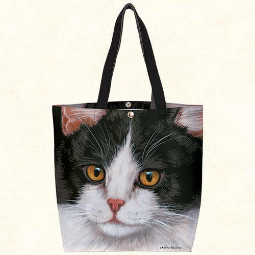 Fiddlers Elbow Black & White Cat Oil Cloth Tote (T805)