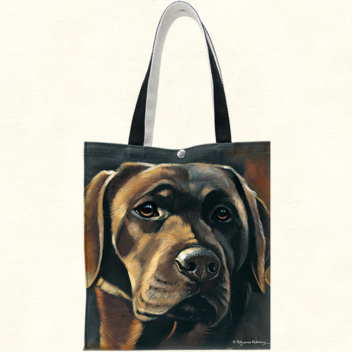 Fiddlers Elbow Chocolate Brown Labrador Retriever Lab Cotton Canvas Tote (T908)