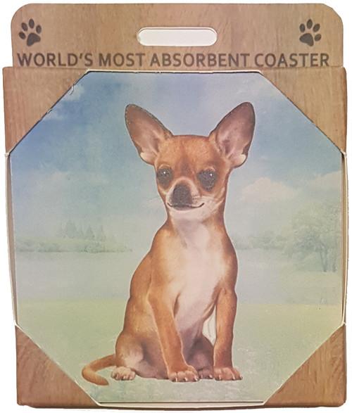 E&S Imports Ceramic Pet Coasters - Chihuahua (Tan ) (E&S-250-10)