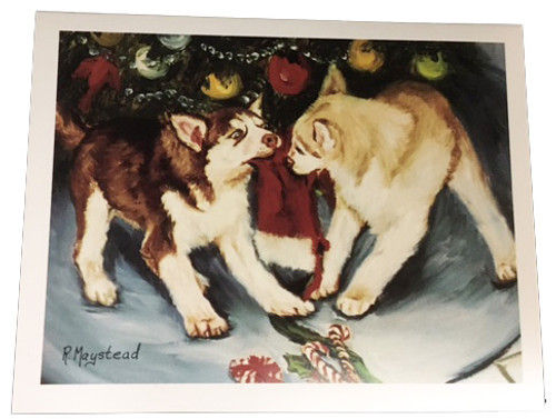 Husky Christmas Cards.Ruth Maystead Here Comes Sammie Clause Christmas Cards Siberian Husky Puppies Shu1x