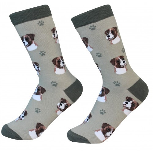 E&S Imports Pet Lover Unisex Socks - Boxer, Uncropped (800-6)