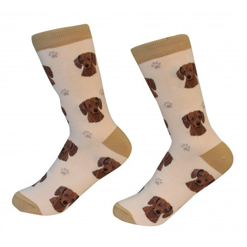 E&S Imports Pet Lover Unisex Socks - Dachshund (red) (E&S-800-13)