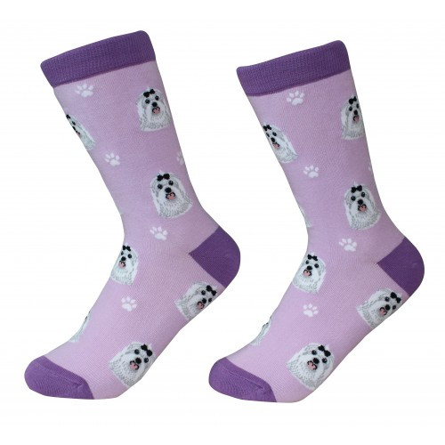 E&S Imports Pet Lover Unisex Socks - Maltese (800-24)