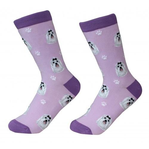 E&S Imports Pet Lover Unisex Socks - Maltese (800-24)