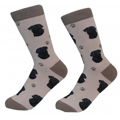 E&S Imports Pet Lover Unisex Socks - Pug (black) (800-32)