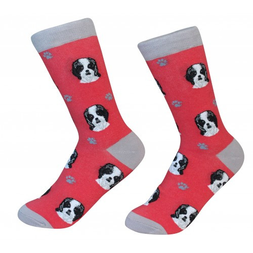 E&S Imports Pet Lover Unisex Socks - Shih Tzu (black) (800-87b)