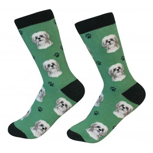E&S Imports Pet Lover Unisex Socks - Shih Tzu (tan) (800-87)