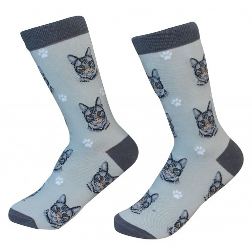 E&S Imports Pet Lover Unisex Socks - Tabby (Silver) Cat (801-8)