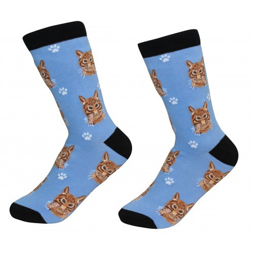 E&S Imports Pet Lover Unisex Socks - Tabby (Orange) Cat (E&S-801-9)