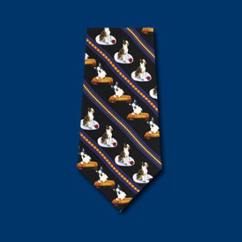 Black Silk Tie - Boston Terrier