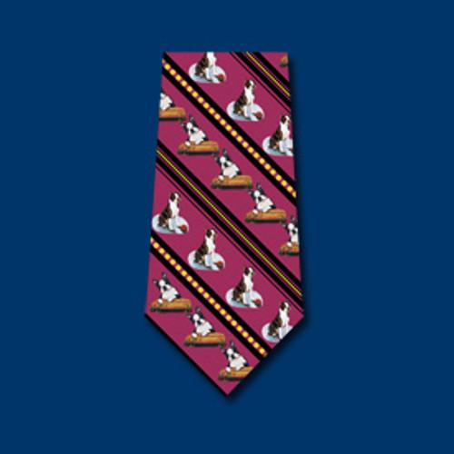 Red Silk Tie - Boston Terrier