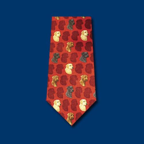 Red Silk Tie - Labrador Retriever