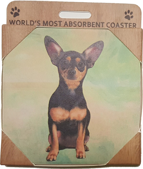 E&S Imports Ceramic Pet Coasters - Chihuahua (Black) (250-11)