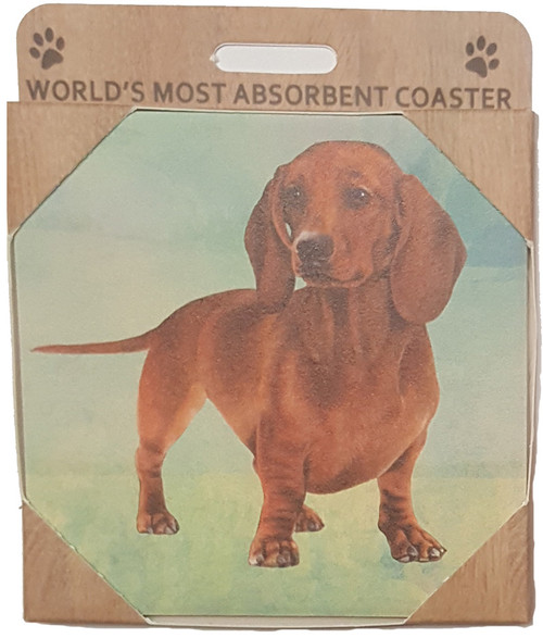 E&S Imports Ceramic Pet Coasters - Dachshund (Long Haired) (250-13a)