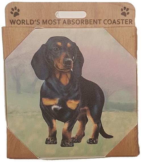 E&S Imports Ceramic Pet Coasters - Dachshund (Black) (250-14)