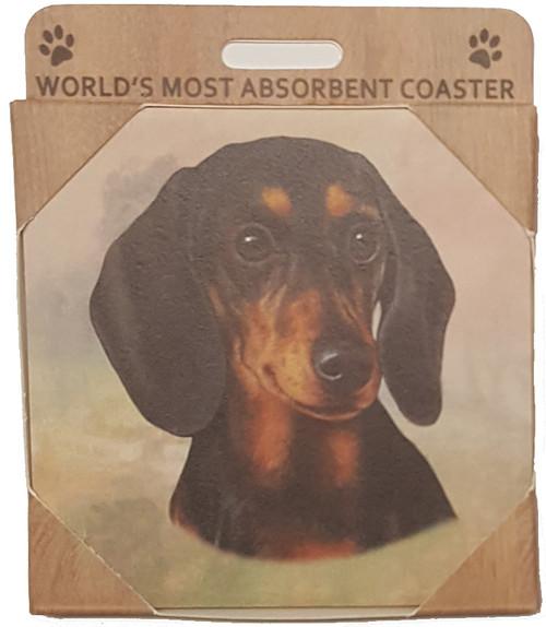 E&S Imports Ceramic Pet Coasters - Dachshund Black (250-14a)