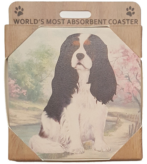 E&S Imports Ceramic Pet Coasters - Cavalier King Charles (Tri-color) (250-19)